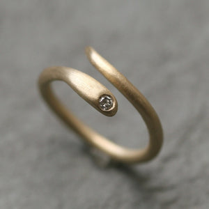 Baby Snake Ring in 14K Gold with Solitaire Diamond