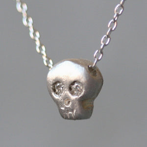 Baby Skull Necklace in Sterling Silver with Diamonds