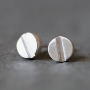 Screw Head Earrings in Sterling Silver