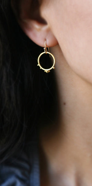 Small Beaded Circle Earrings in 18K Gold Plate