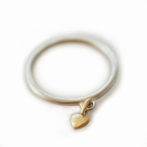 Mini Puffy Heart Charm Ring in 10K Gold and Sterling Silver
