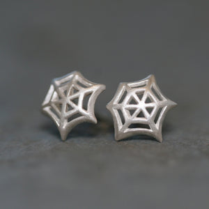 Web Stud Earrings in Sterling Silver