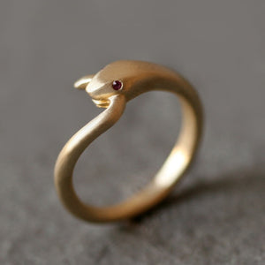 Snake Tail Ring in Brass with Gemstones