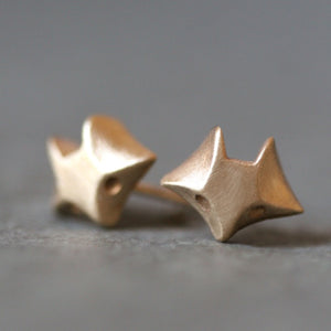 Fox Stud Earring in 14K Gold