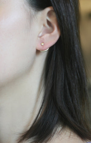 Tiny Star and Crescent Moon Ear Jacket in Brass