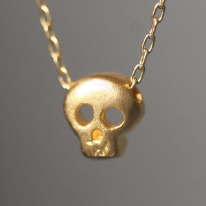 "Baby Skull Necklace in 18K Gold Plate skulls,necklaces,HALLOWEEN baby-skull-necklace-in-gold-vermeil 16"",17"",18"""