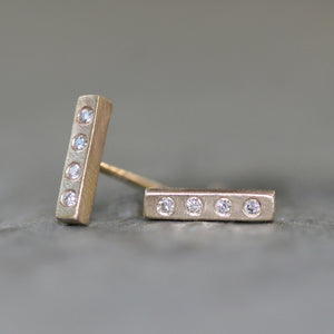 Tiny Bar Stud Earrings 14K Gold with Diamonds earrings,geometric tiny-bar-stud-earrings-14k-gold-with-diamonds 10k Pink,10K Yellow,14k Pink,14k Yellow