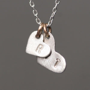 Double Heart Initial Necklace in Sterling Silver