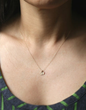 Double Tiny Oval Initial Necklace in 14k Gold