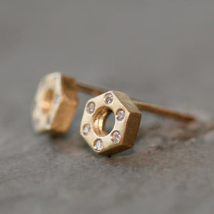 Small Hexagon Bolt Stud Earrings 14k Gold with Diamonds