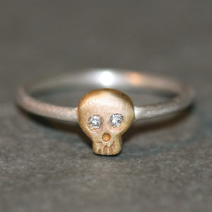 Baby Skull Ring in 14K Gold and Silver with Diamonds