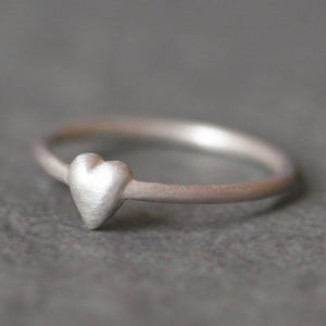 Tiny Puffy Heart Ring in Sterling Silver