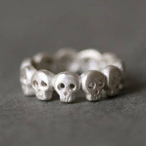 Baby Skull Band Ring in Sterling Silver