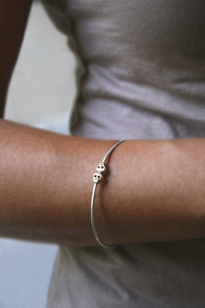 Baby Skull Bangle in Sterling Silver and 14K Gold