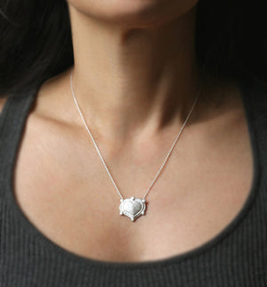 Nubby Heart Necklace in Sterling Silver with 6 Diamonds