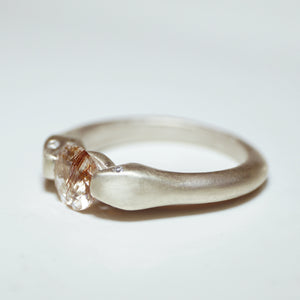 Double Headed Snake Ring in Sterling Silver with Copper Rutilated Quartz and Diamonds
