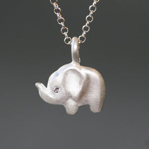 Side Elephant Necklace in Sterling Silver with Diamond Eye