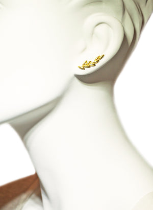Mismatch Seed Climber Earrings in 18K Gold Plate