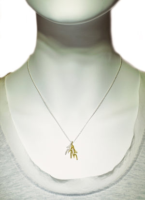 "Small Triple Branch Necklace in 18K Gold Plate and Sterling Silver necklaces,nature/organic tiny-triple-branch-necklace-in-18k-gold-plate-and-sterling-silver 16"",17"",18"""
