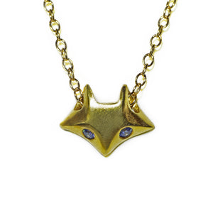 "Fox Necklace in 18K Gold Plate with Blue CZ animal,necklaces fox-necklace-in-18k-gold-plate 16"",17"",18"""