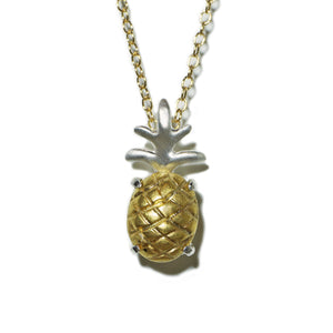 Pineapple Necklace in Sterling Silver with Brass Setting