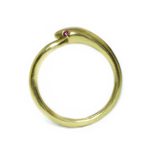 Snake Tail Ring in 18K Gold Plate with Red CZ rings,animal snake-tail-ring-in-18k-gold-plate-with-cz 6,7