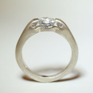 Double Headed Snake Ring in Sterling Silver with White Topaz and Diamonds