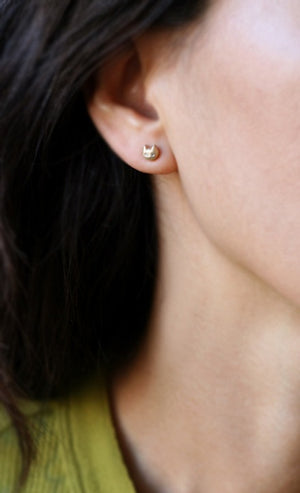 Kitty Stud Earrings in 14k Gold with Diamonds