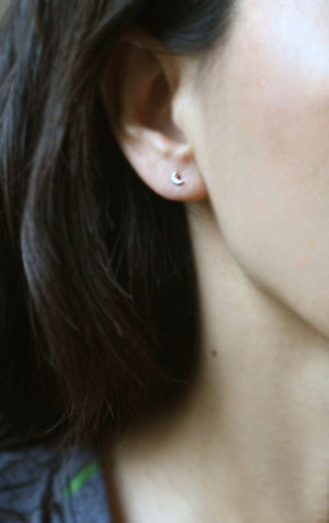 Tiny Moon Stud Earrings in Sterling Silver