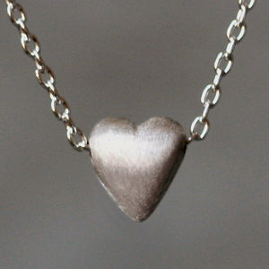 "Tiny Puffy Heart Necklace in Sterling Silver necklaces,hearts tiny-puffy-heart-necklace-in-sterling-silver 16"",17"",18"""