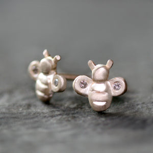 Tiny Bee Stud Earrings in Sterling Silver with Diamonds animal,earrings tiny-bee-stud-earrings-in-sterling-silver-with-diamonds Default Title