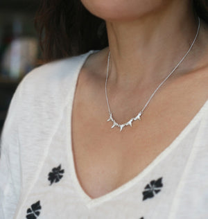 5 Baby Shark Tooth Necklace in Sterling Silver