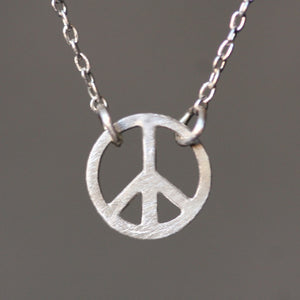 "Tiny Round Peace Sign Necklace in Sterling Silver necklaces,symbols tiny-round-peace-sign-necklace-in-sterling-silver 16"",17"",18"""