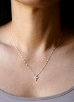 Small Cross Necklace in 14k Gold