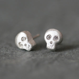 Baby Skull Earrings in Sterling Silver with Diamonds