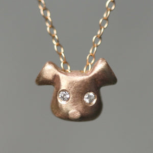 Puppy Necklace in 14K Gold with Diamonds