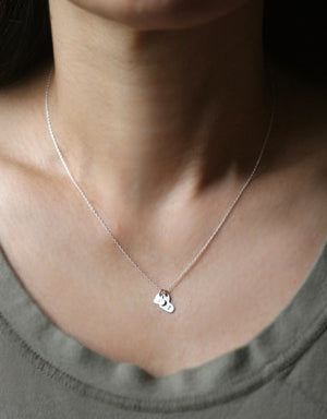 "Double Heart Initial Necklace in Sterling Silver initials,hearts,necklaces double-heart-initial-necklace-in-sterling-silver 15"",16"",17"",18"""