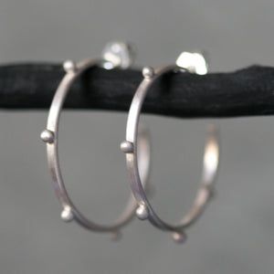 Small Beaded Hoop Earring in Sterling Silver