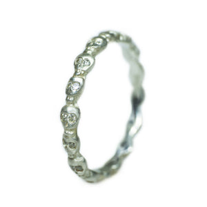 Mini Skull Eternity Band Ring in Sterling Silver with Diamonds