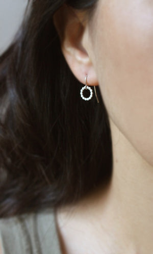 Flat Circle Dangle Earrings in Sterling Silver