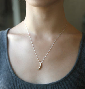 "Long Crescent Moon Necklace in Brass and Sterling Silver nature/organic,necklaces,symbols long-crescent-moon-necklace-in-brass-and-sterling-silver 18"",20"",22"""