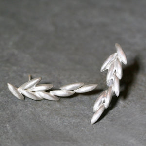 Long Rice Climber Earrings in Sterling Silver