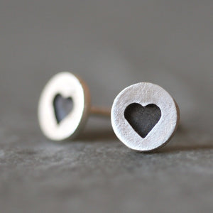 Black Heart Stud Earrings in Sterling Silver earrings,hearts black-heart-stud-earrings-in-sterling-silver Default Title