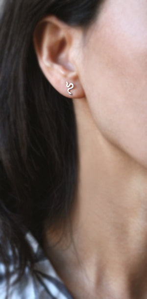 Mini Mismatched Snake Stud Earrings in Sterling Silver