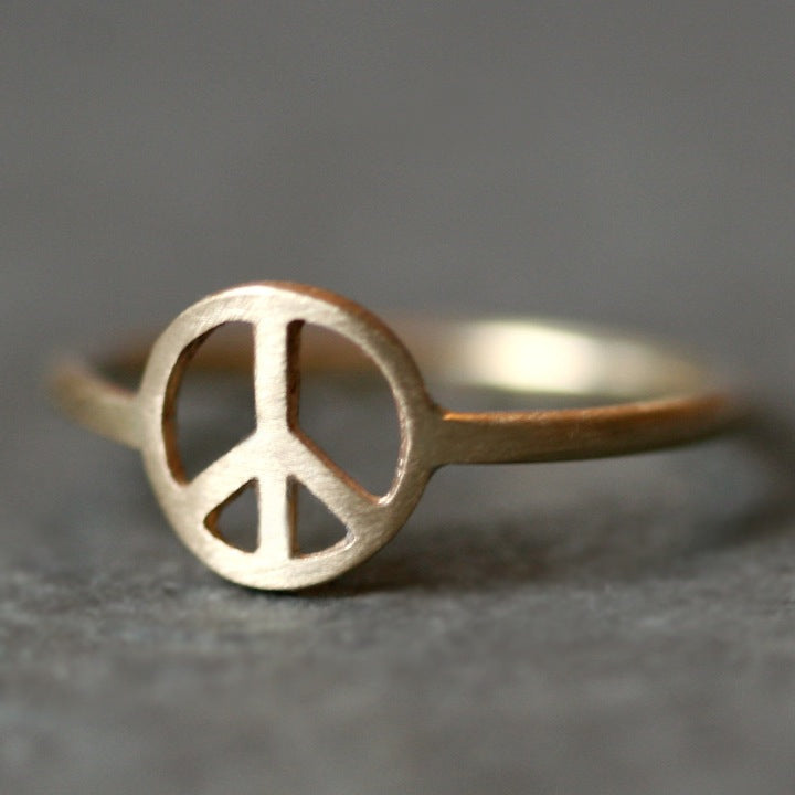 Peace Sign Ring In 14k Gold Michelle Chang