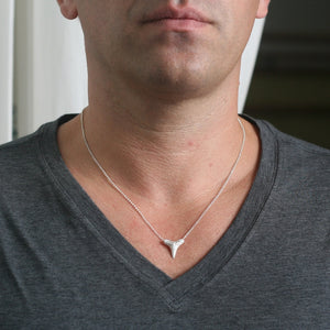 "Large Shark Tooth Necklace in Sterling Silver for men,ocean,necklaces,animal large-shark-tooth-necklace-in-sterling-silver 18"",20"",22"""
