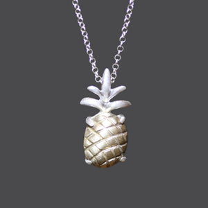 Pineapple Necklace in Brass with Sterling Silver Setting