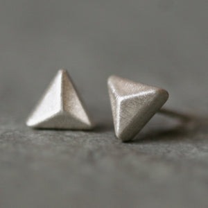Triangle Pyramid Stud Earrings in Sterling Silver geometric,earrings triangle-pyramid-stud-earrings-in-sterling-silver Default Title