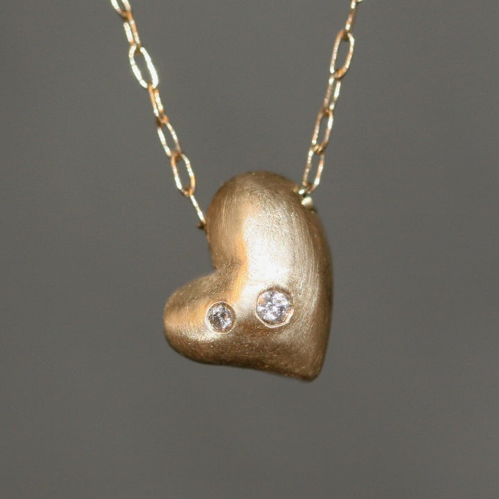 Puffy heart necklace in 14k gold with 2 diamonds michelle chang puffy heart necklace in 14k gold with 2 diamonds aloadofball Gallery