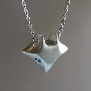 Large Fox Necklace in Sterling Silver with Blue Sapphires